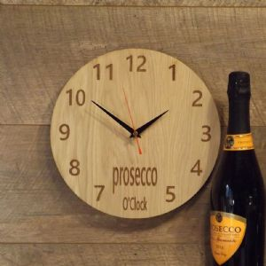 Prosecco O'Clock Wooden Wall Clock for Prosecco Lovers (B1)